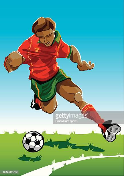 cartoon soccer player red-green - midfielder soccer player stock illustrations