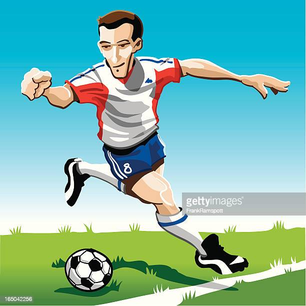 Cartoon Soccer Player Red-White
