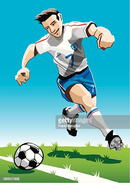 cartoon soccer player white - midfielder soccer player stock illustrations