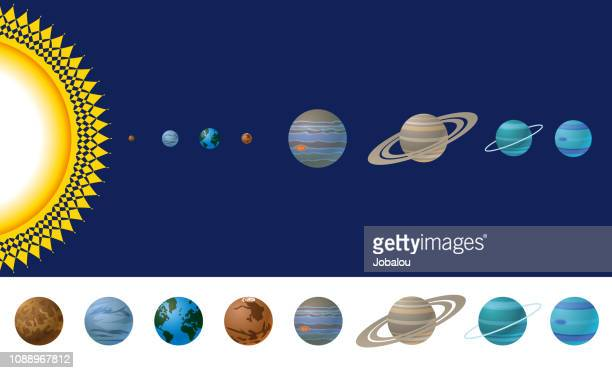 cartoon solar system - neptune planet stock illustrations