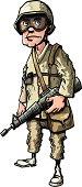Cartoon soldier in desert camouflage