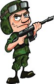 Cartoon Soldier in jungle camouflage