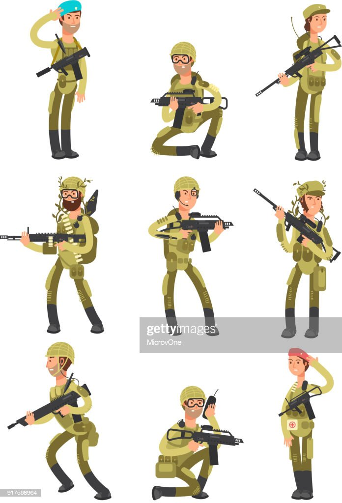 Cartoon soldiers in various actions. Military men with weapons. People in army vector set