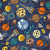 Cartoon space, planets seamless pattern