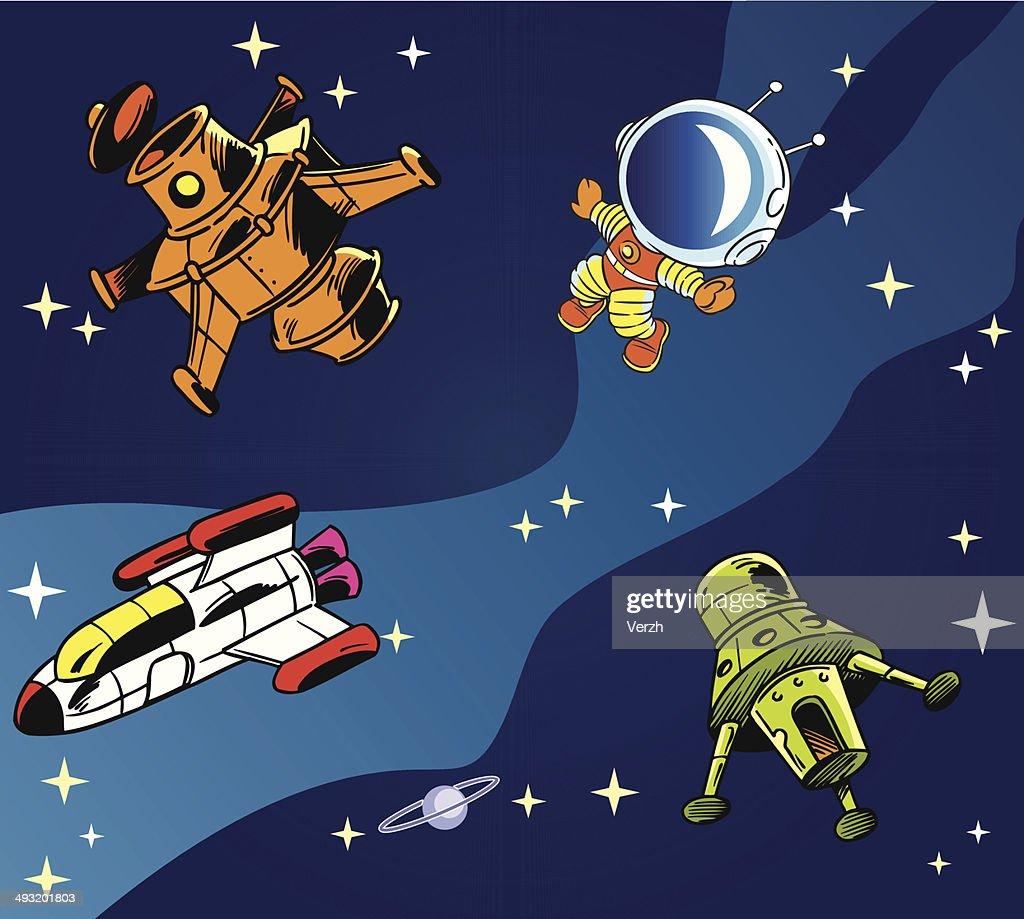 cartoon spaceships
