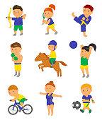 Cartoon sport kids. Vector illustration for 2016 brazil game