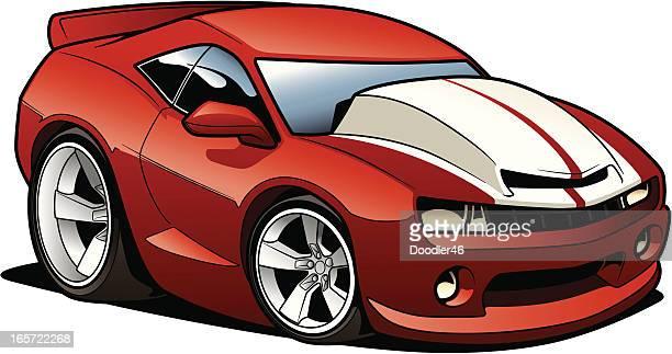 cartoon sports car - domestic car stock illustrations, clip art, cartoons, & icons