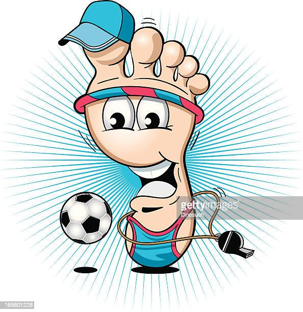 cartoon sporty foot playing with a football - toe stock illustrations, clip art, cartoons, & icons