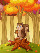 Cartoon squirrel holding acorn in the forest