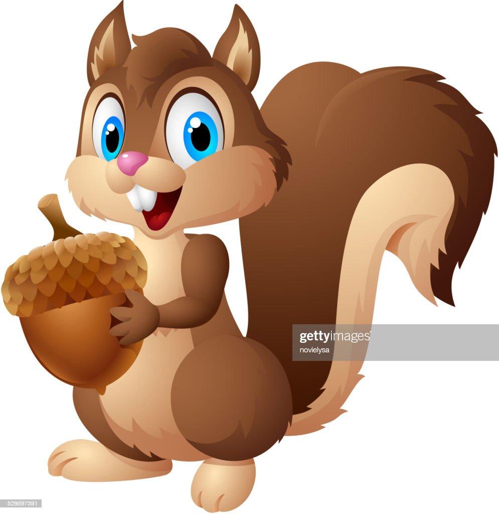 Cartoon squirrel holding acorn