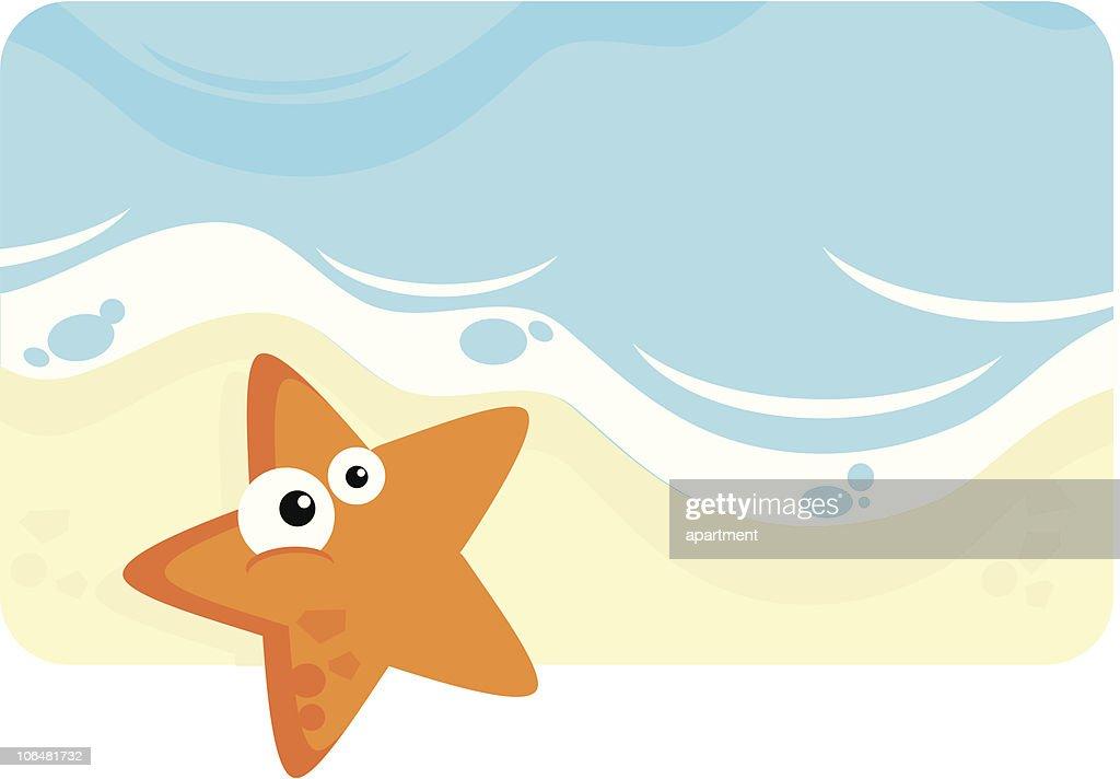 Cartoon Starfish on the sea shore