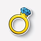 Cartoon sticker gold ring with a diamond
