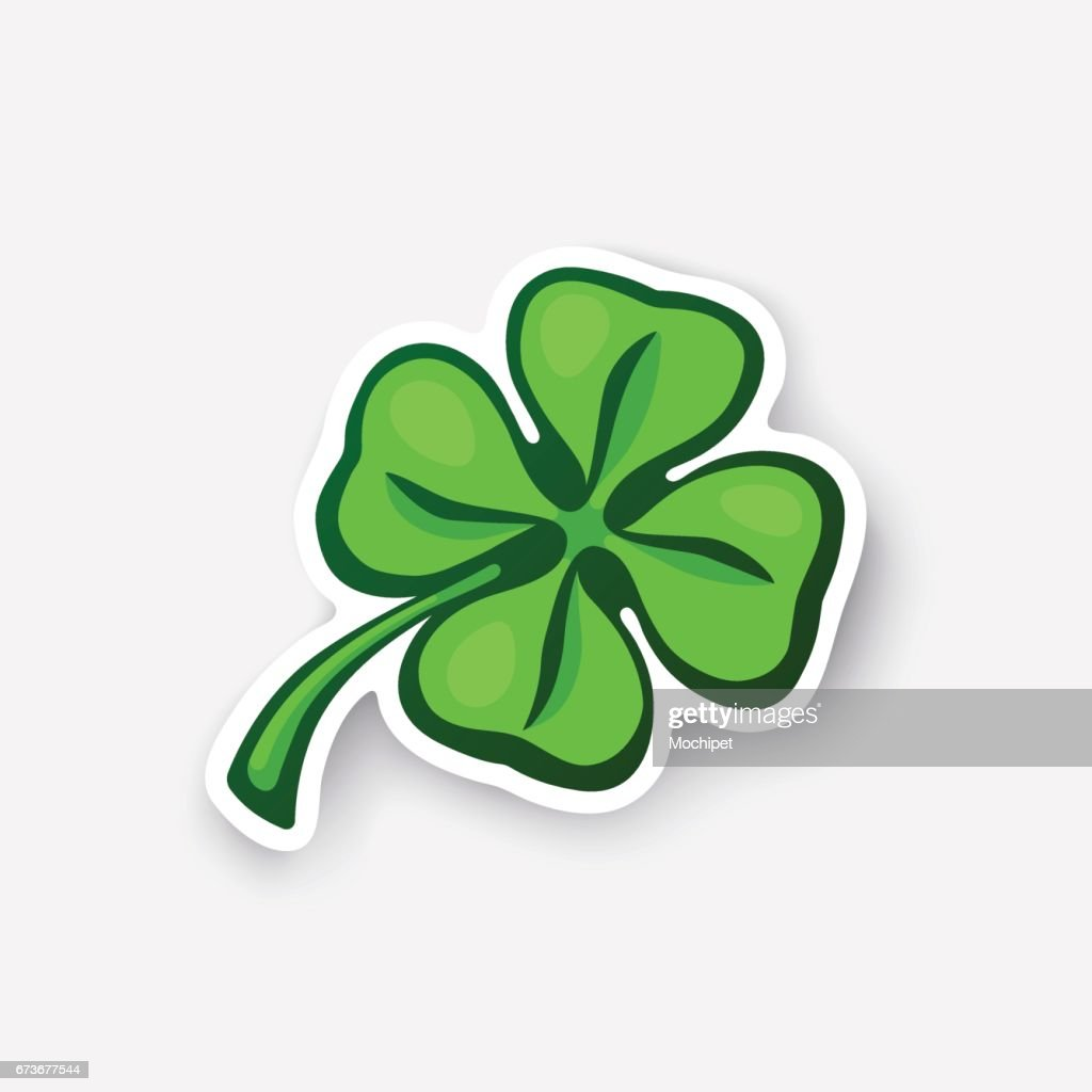 Cartoon sticker green clover
