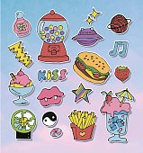 Cartoon stickers or patches set with 90s style design elements.