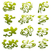 Cartoon stinky smell bubbles, water vapor and stench aroma streams vector set