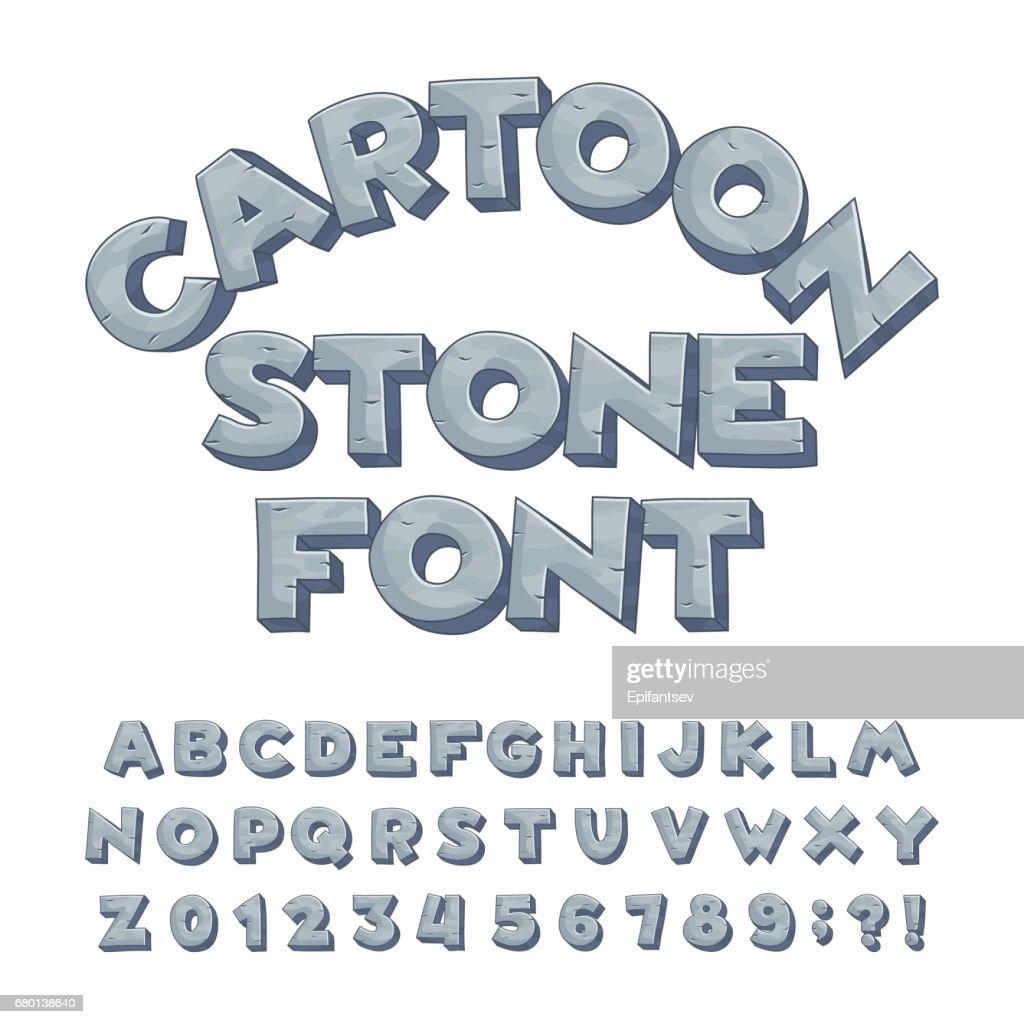 Cartoon stone alphabet font. Type letters, numbers, symbols.