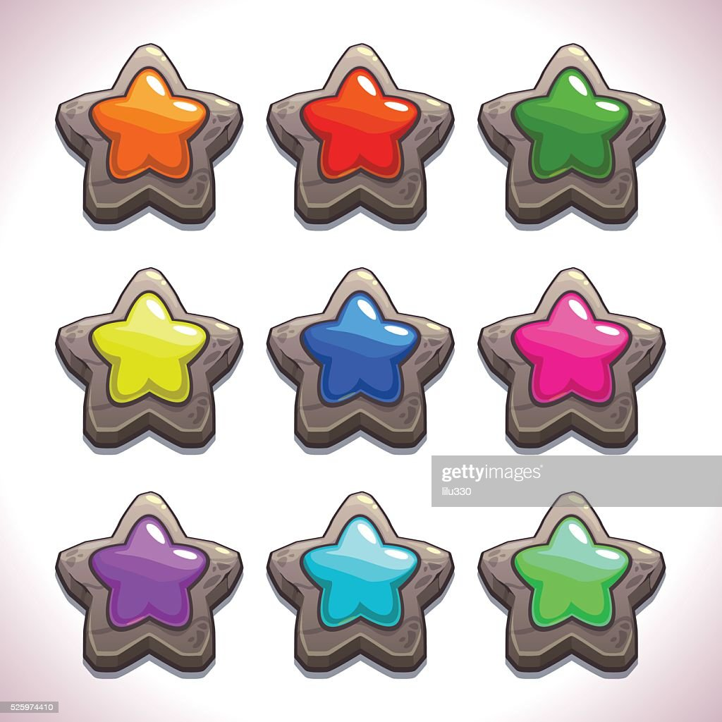 Cartoon stone stars