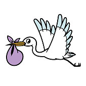 Cartoon Stork and Baby Bag