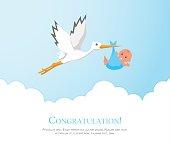 Cartoon stork in sky with baby.