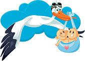 Cartoon Stork with Twins Vector Illustration
