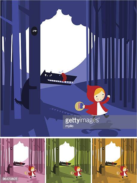 cartoon storyboard of little red riding hood story - little red riding hood stock illustrations, clip art, cartoons, & icons