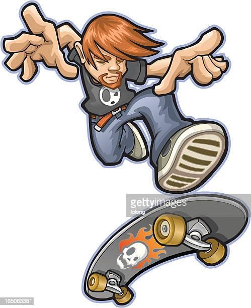 Cartoon street style skater boy jumping with skateboard