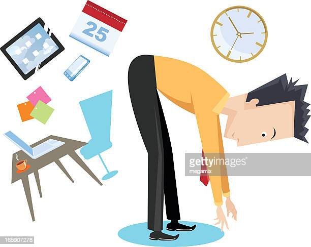 cartoon stretch break with office symbols in the background - bending over stock illustrations, clip art, cartoons, & icons