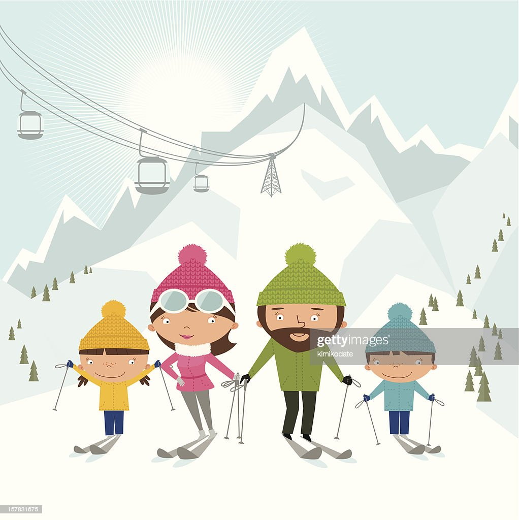 Cartoon style depiction of skiing family