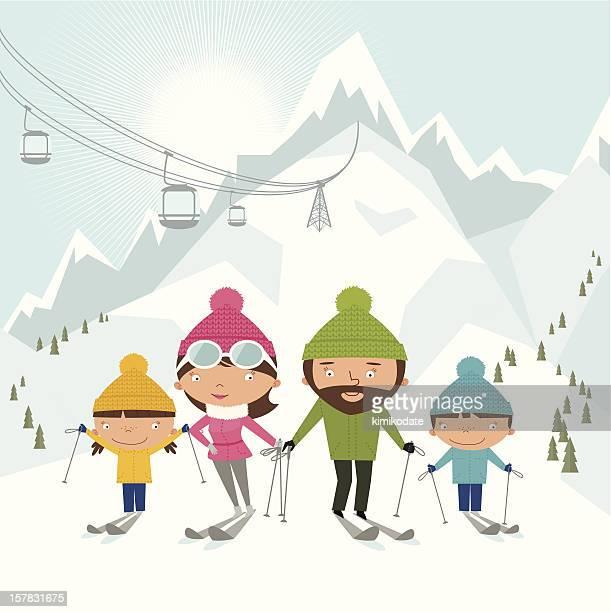 illustrations, cliparts, dessins animés et icônes de ski en famille - ski alpin