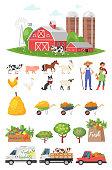 cartoon style farmers set