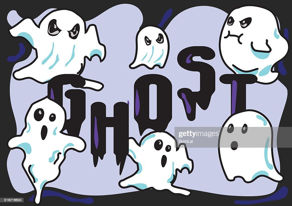 cartoon style ghosts