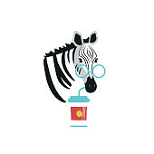 Cartoon style icon of cute zebra with glasses and drink coffee. Funny portrait of the character for a different design.