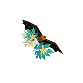 Cartoon style icon of flying fox with tropical flowers, leaves. Cute fruit bat for different design.