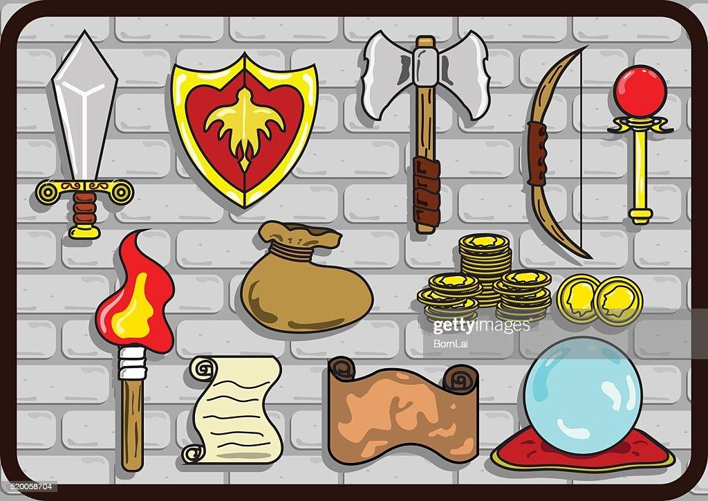 cartoon style medieval RPG Game items