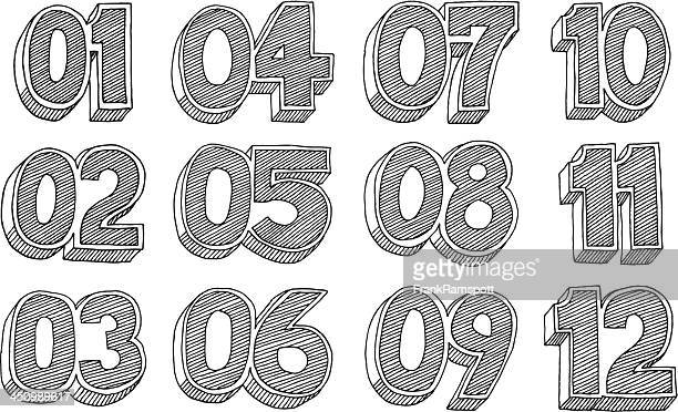 Cartoon Style Numbers Listing Drawing