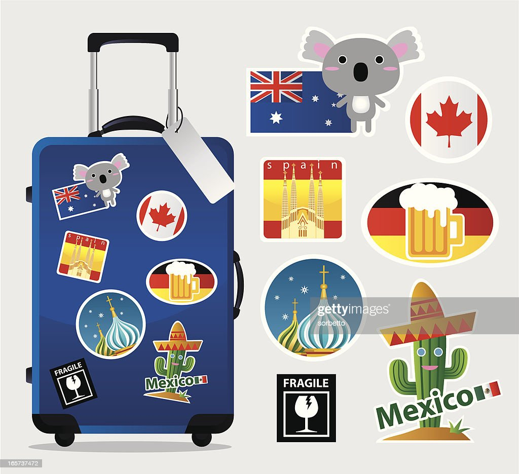 Cartoon suitcase with travel stickers and icons : stock illustration