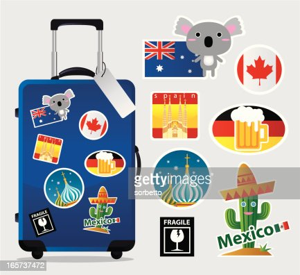 Cartoon Suitcase With Travel Stickers And Icons Vector Art