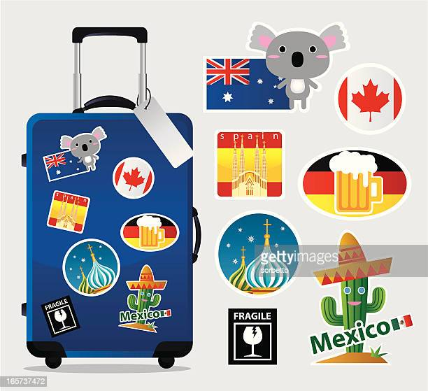 cartoon suitcase with travel stickers and icons - travel tag stock illustrations, clip art, cartoons, & icons