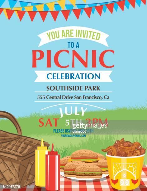 cartoon summer picnic invitation template - picnic blanket stock illustrations, clip art, cartoons, & icons
