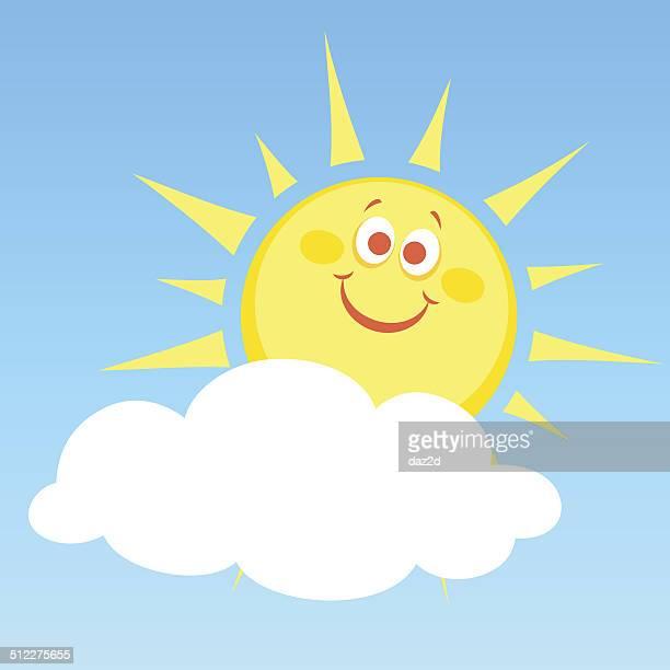 ilustraciones, imágenes clip art, dibujos animados e iconos de stock de dibujos animados de sol y sombra - sol en la cara