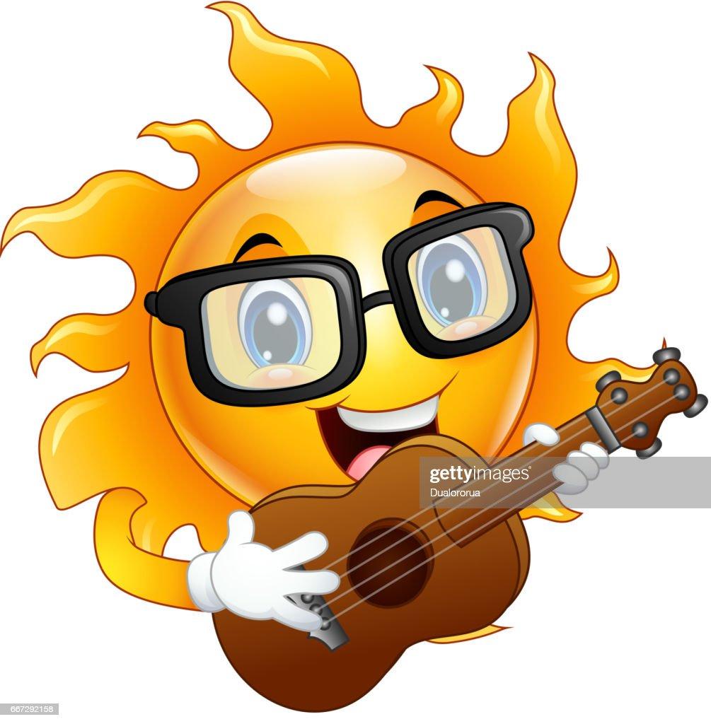 Cartoon sun character playing a guitar