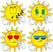 Cartoon sun gesturing a small amount with hand.