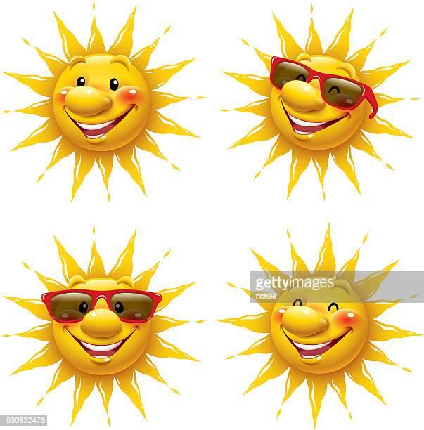 ilustraciones, imágenes clip art, dibujos animados e iconos de stock de dibujos animados de sol - sol en la cara
