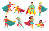 Cartoon superhero characters. Female and male flying superheroes with superpowers. Brave superman and superwoman isolated vector set