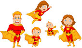 Cartoon superhero collection set