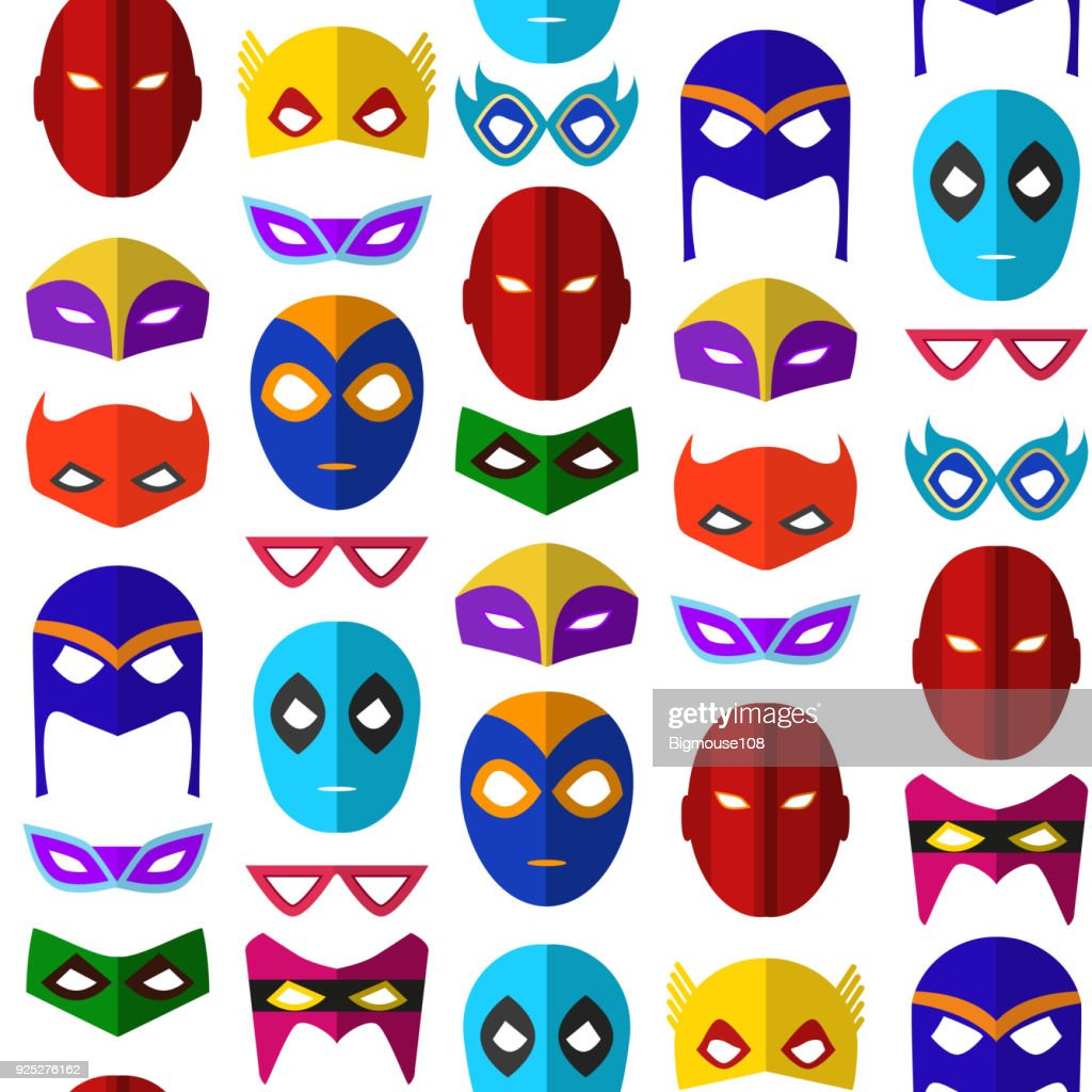 Cartoon Superhero Mask Seamless Pattern Background. Vector