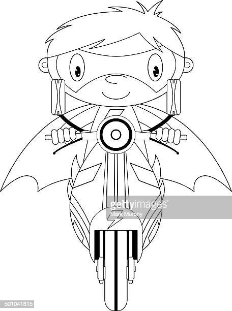 cartoon superhero on scooter outline - moped stock illustrations, clip art, cartoons, & icons