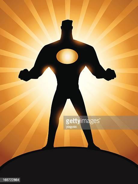 cartoon superhero silhoutte - superman stock illustrations