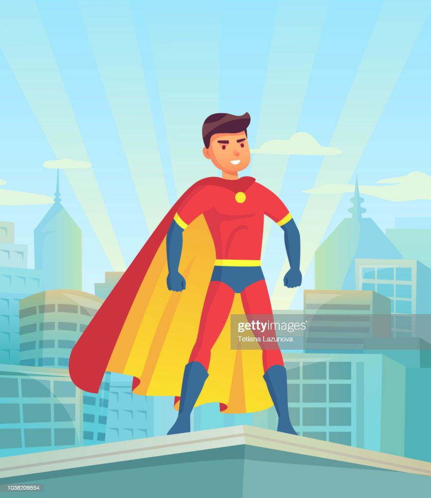 Cartoon superhero watching city. Comic powerful man, hero in super suit with cloak on town cityscape vector illustration