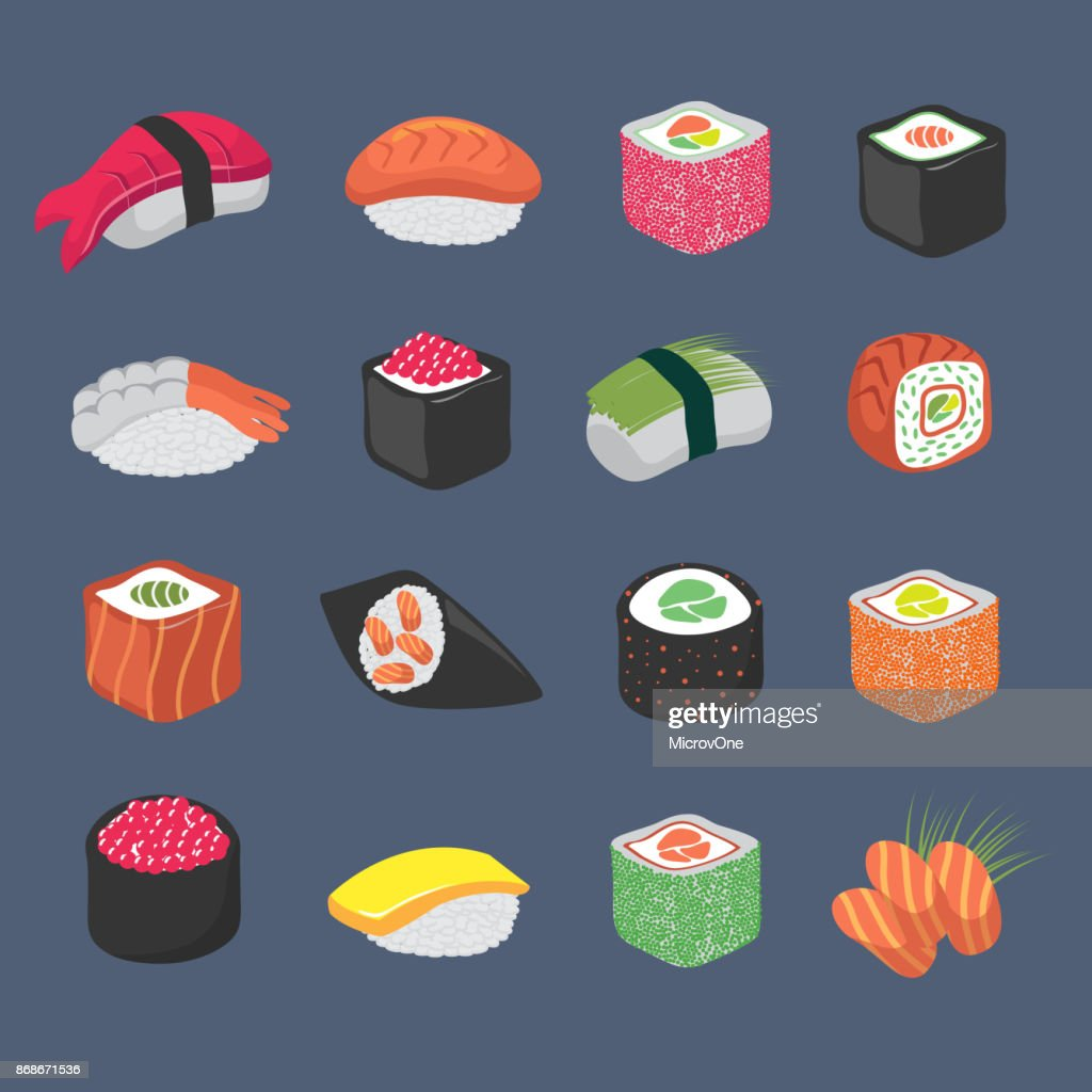 Cartoon sushi rolls japanese cuisine seafood vector set